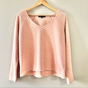 Sanctuary Blush Pink V-Neck Textured Sweater, M